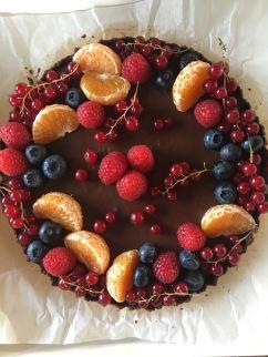 chocomoussetaart met vers fruit